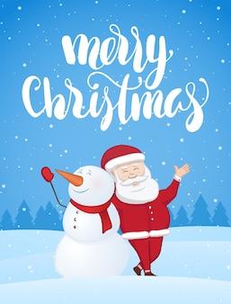 산타 클로스와 눈 덮인 풍경에 눈사람 크리스마스 인사말 카드. 메리 크리스마스의 필기 현대 브러시 글자