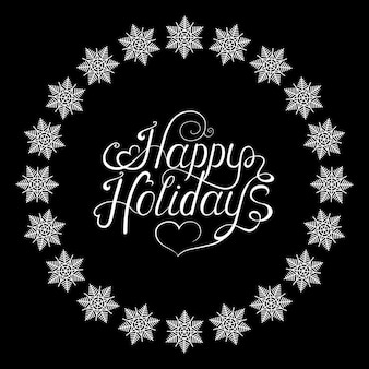 Xmas hand lettering on black  background with   snowflakes frame. christmas  greeting  card.  vector illustration.