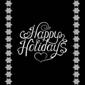 Xmas hand lettering on black  background with  white snowflakes. vector illustration.