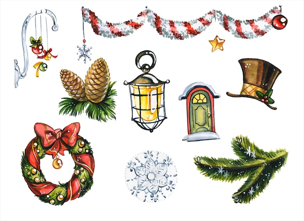 Xmas holiday decorations hand drawn watercolor illustrations set. new year tree toys, mistletoe wreath, pine twigs and garland on white background. festive items collection aquarelle painting