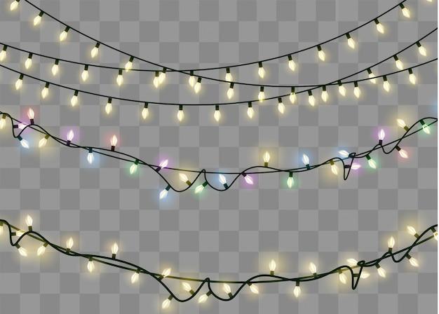 Рождественские огни изолированные реалистичные элементы дизайна. светящиеся огни для xmas holiday.led неоновая лампа