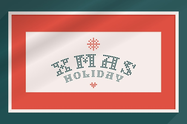 Xmas holiday lettering is made of thick round knits flat style sign with a set of bonus icons