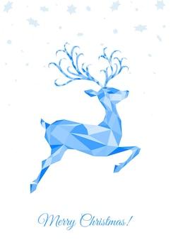 クリスマス低ポリ三角形青い鹿。青いジャンプトナカイとクリスマスのグリーティングカード。折り紙風のベクトルイラスト。
