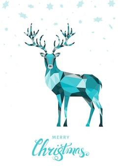 カラフルなトナカイとクリスマスの低ポリ三角鹿クリスマスグリーティングカード
