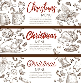 Xmas menu banners with calligraphic inscription and copy space. gingerbread cookies, ham and pudding, meat and pastry for christmas celebration. monochrome sketch outline, vector in flat style