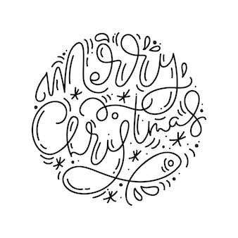 Xmas monoline calligraphy phrase text merry christmas