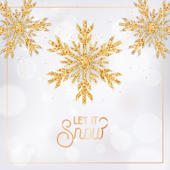 Xmas or new year greeting postcard, invitation flyer design. elegant merry christmas card with gold snow flakes and glitter on white blurred background with let it snow typography. vector illustration