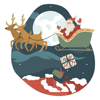 Xmas and new year holidays celebration, santa claus greeting with christmas delivering presents for people. grandfather frost sitting on sled with reindeers, throwing gifts at night. vector in flat