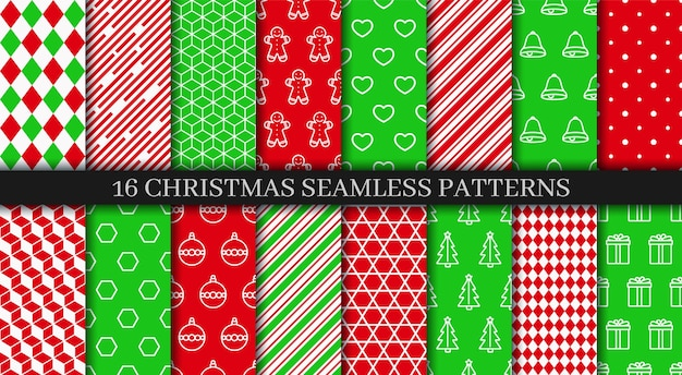 Xmas new year texture. christmas seamless patterns collection. festive seamless background with holly, bells, snowflakes, candycane lollipop and geometric ornament. holiday wrapping paper. vector