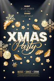 Xmas party glowing letters with light bulbs and a gold outline. night party poster, greeting card, template  projects