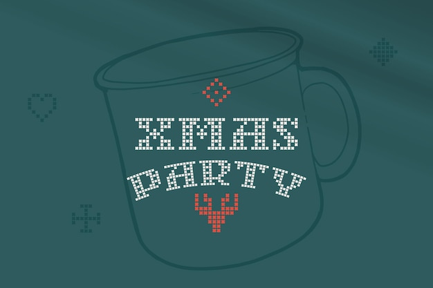 Xmas party lettering is made of thick round knits flat style sign with a set of bonus icons