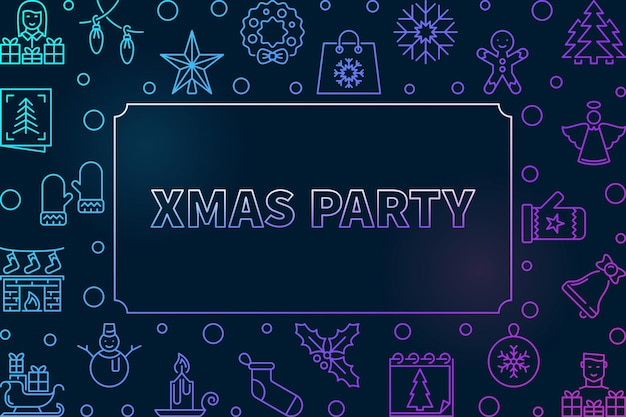 Xmas party outline colored frame icon illustration