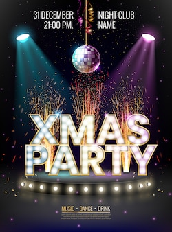 Xmas party poster template with glowing letters, light bulbs and a gold outline.