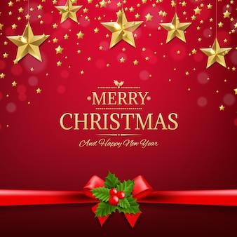 Рождественская открытка с золотыми звездами иллюстрации