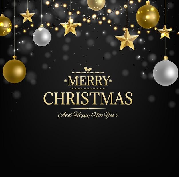 黄金の星のイラストとクリスマスポストカード