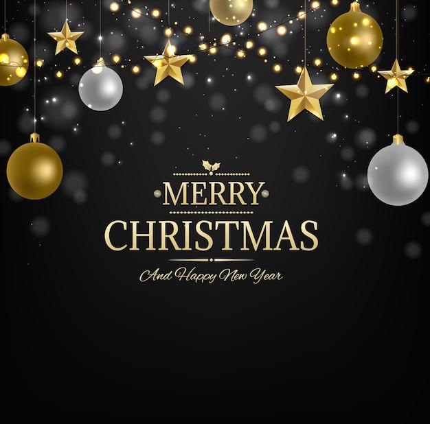 ゴールデンスター付きクリスマスポストカード