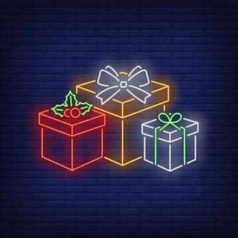 네온 스타일로 크리스마스 선물