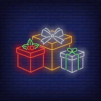 Xmas presents in neon style