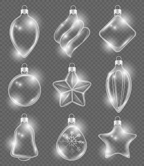 Xmas realistic balls. new year glass toys holiday transparent decoration ribbons ornament  3d pictures