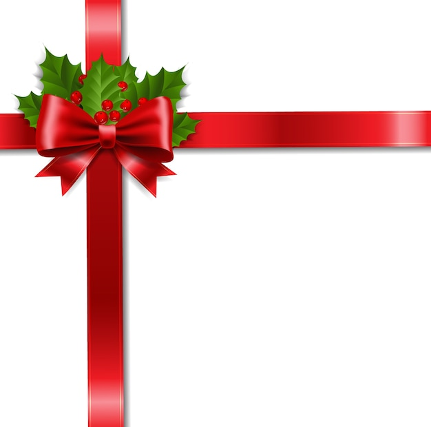 Xmas ribbon bow and holly berry white background