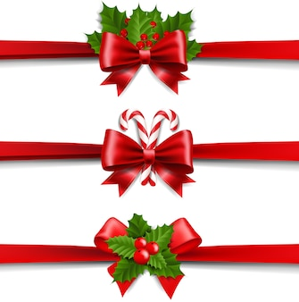 Xmas ribbons bow and holly berry set white background
