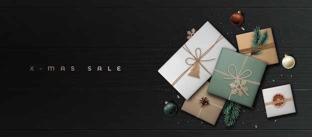 공예 종이에 현실적인 선물 상자 크리스마스 판매 배너