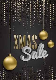 Xmas sale with metallic gold christmas balls.