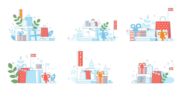Xmas sales advertising cards set in flat
