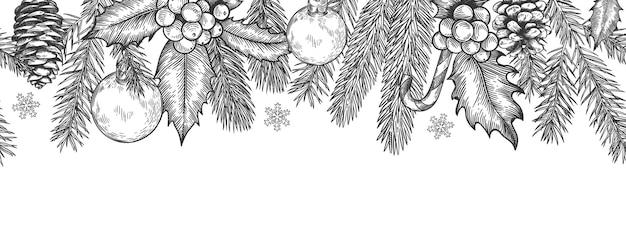 クリスマスのシームレスな緑の境界線。クリスマスツリーの枝の花輪、ヒイラギの果実やおもちゃ、お祝いのベクトルカードの要素と水平バナー。キャンディケインとスノーフレークが刻まれたトウヒの小枝