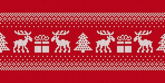クリスマスのシームレスなパターン。クリスマスニットの質感。ホリデーフェアアイルオーナメント。ベクター