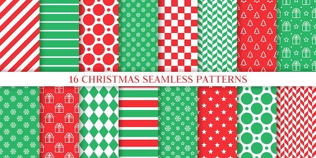 クリスマスのシームレスなパターン。お祭りプリントセット