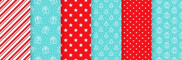 クリスマスのシームレスなパターン。赤青イラストセット