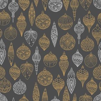 クリスマスツリーボール手描きアートデザインベクトルイラストとクリスマスシームレスパターン。