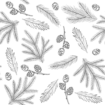 Xmas seamless pattern with christmas tree decorations, pine branches hand drawn art design vector illustration