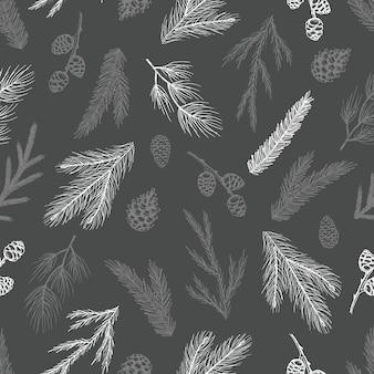 Xmas бесшовные модели с украшениями елки, сосновые ветки рисованной арт дизайн векторные иллюстрации.