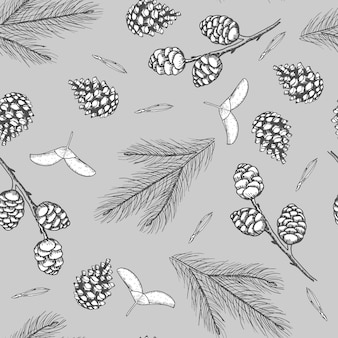 Xmas seamless pattern with christmas tree decorations, pine branches hand drawn art