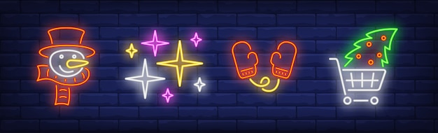 Xmas symbols set in neon style collection