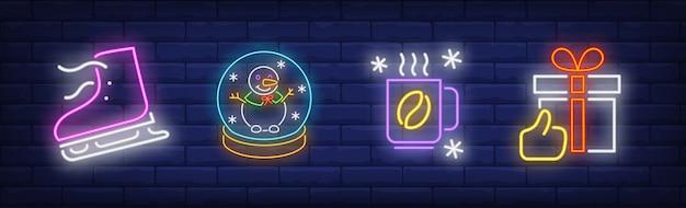 Xmas symbols set in neon style