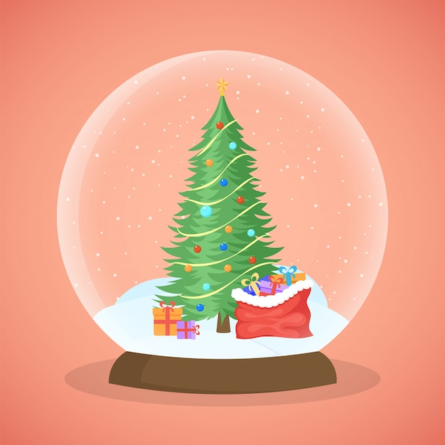 Xmas tree snow ball vector illustration