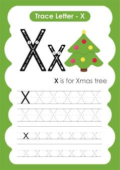 Рабочий лист для рисования и написания линий xmas tree trace для детей