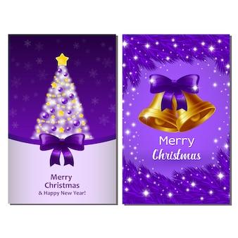 Xmas violet postcards