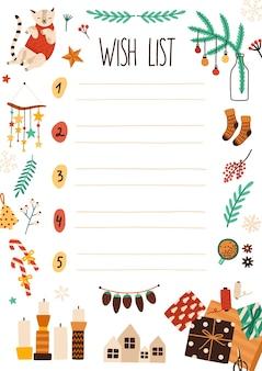 크리스마스 위시리스트 평면 그림. 축제 장식이있는 노트북 시트 페이지. 크리스마스 장신구와 산타 클로스 편지 디자인입니다. 텍스트에 대 한 장소 겨울 휴가 테마 번호 매기기 목록.