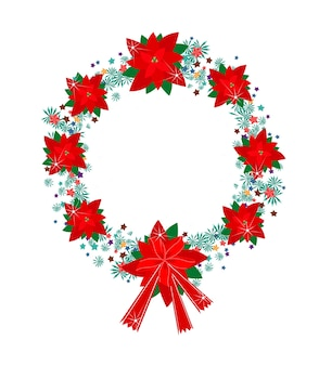 Xmas wreath of red poinsettia flowers and bow
