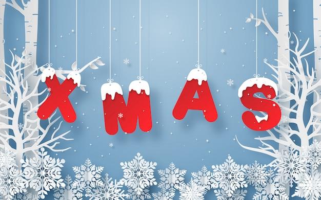 折り紙の紙のアートスタイル、雪が降っているフォレスト内の単語xmasをぶら下げ