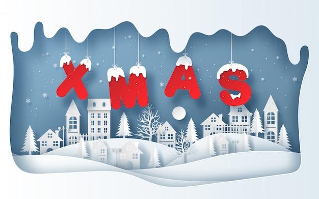 Xmasの単語をぶら下げて冬の季節の村のペーパーアートスタイル