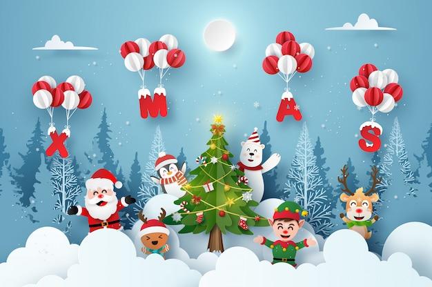 Дед мороз и милый мультипликационный персонаж на рождественской вечеринке с воздушным шаром xmas