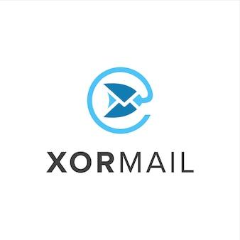 Xor 및 메일 단순 창의적 기하학적 세련된 현대적인 로고 디자인