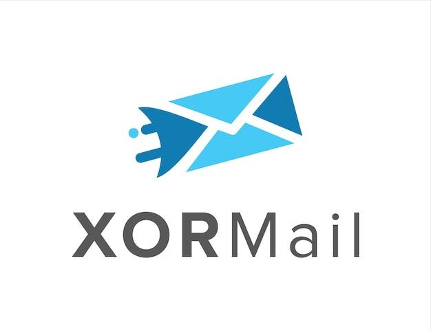 Xor and mail simple creative geometric sleek modern logo design