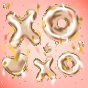 Xoxo and heart shape metallic ballons and foil confetti
