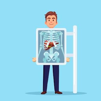 인체를 스캔하는 xray 기계 뢴트겐 흉골 간 초음파